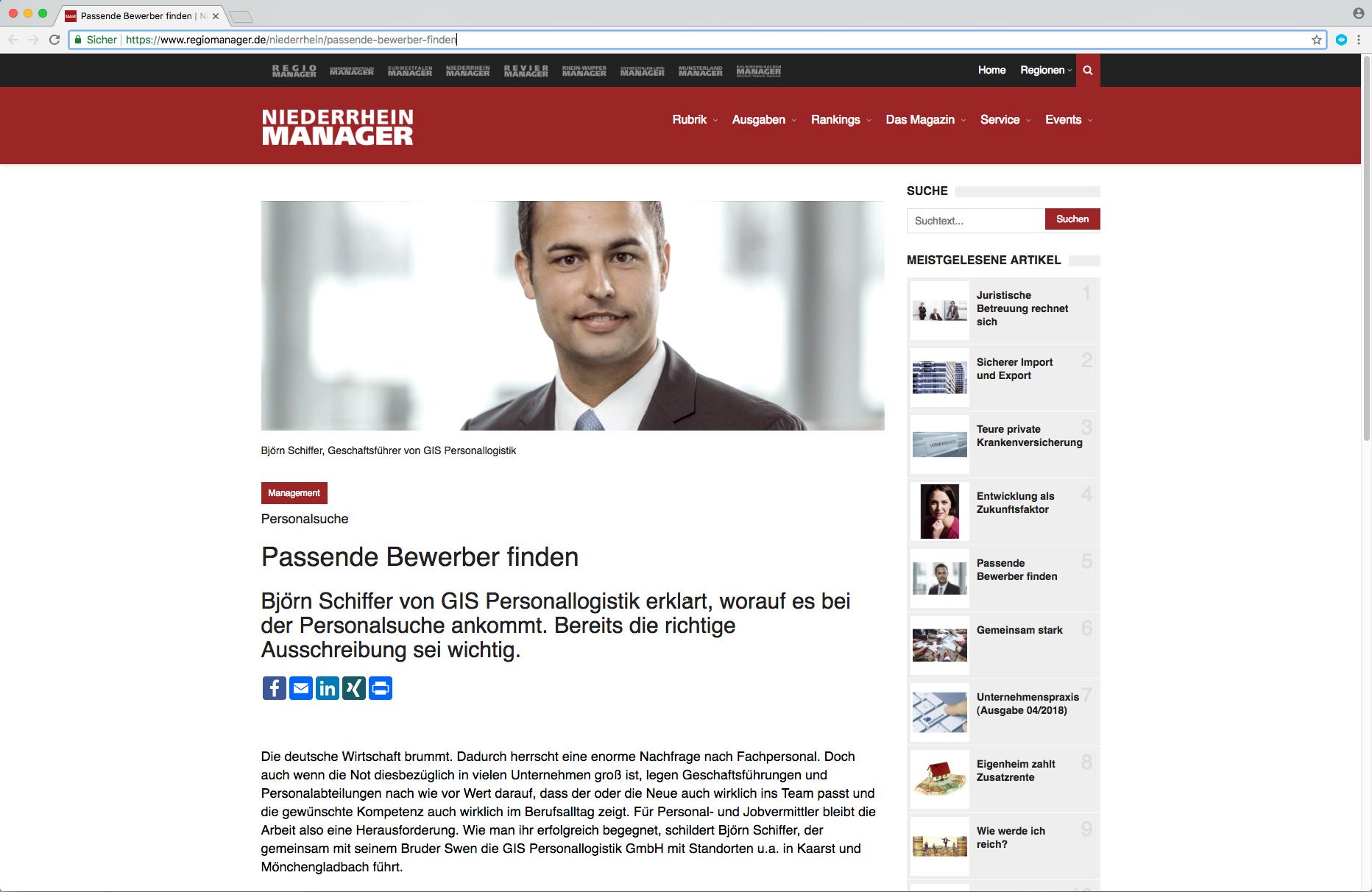 passende bewerber finden interview im niederrhein manager - Bewerber Finden